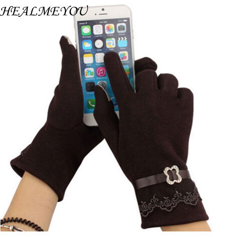 5 Colors  Gloves Touch Screen Warm Soft Winter Glove Thermal Mittens For Cell Phone Cotton  Gloves