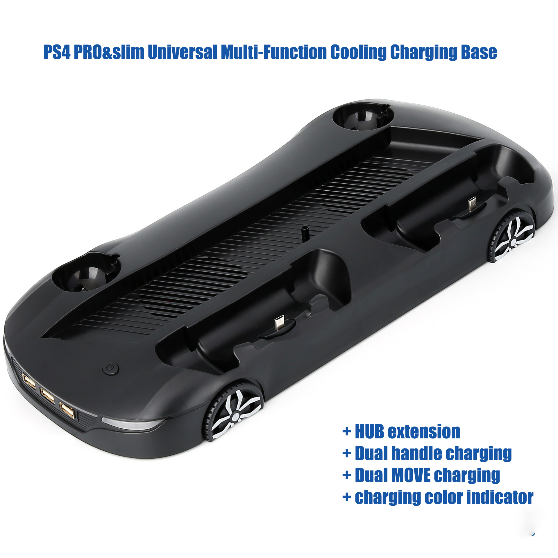 Image 4 - Universal multi function cooling charging stand base supports dual handle dual move charging led indicator for PS4 PRO&PS4 SLIM-in Replacement Parts & Accessories from Consumer Electronics