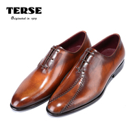 TERSE Goodyear Welted Mens Handmade Leather Dress Shoes High Quality Genuine Leather Oxfords Luxury Patch Gentleman
