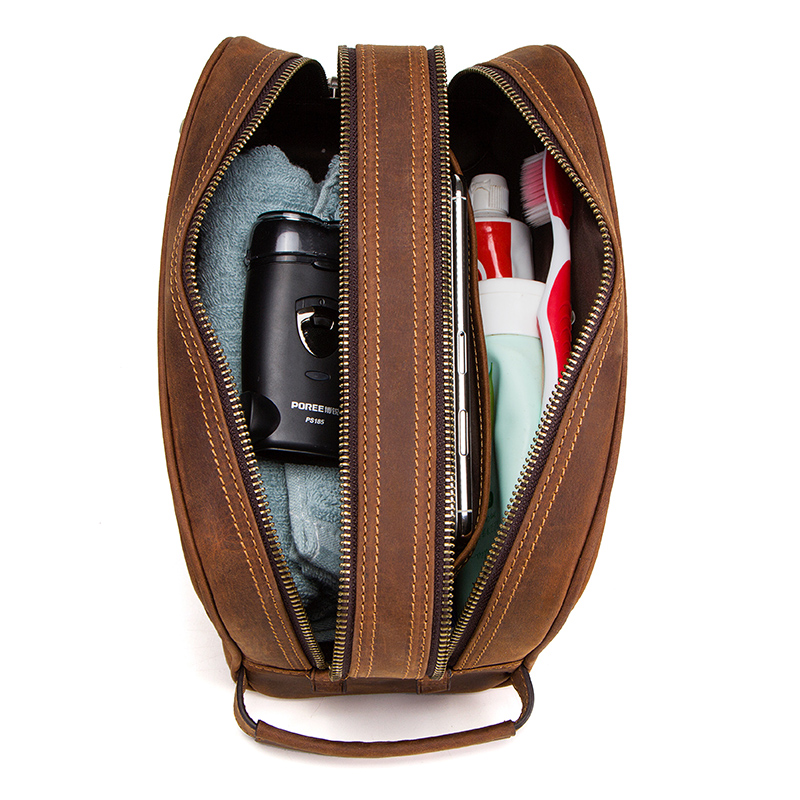 Image 3 - CONTACT'S genuine leather cosmetic bag for men vintage crazy horse leather man make up bags small travel bags male toiletry bag-in Cosmetic Bags & Cases from Luggage & Bags