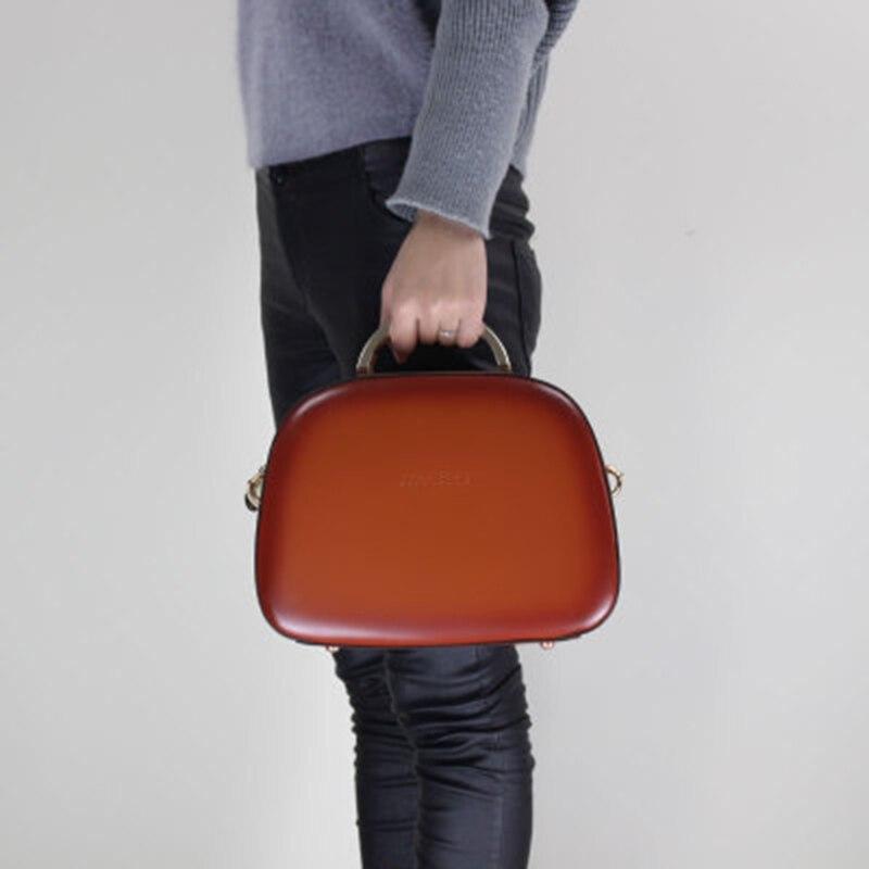 Orange Élégant Vache rouge Main La Sac Mode Messager 2018 Cuir Shell Dames À Véritable De Bandoulière En Bureau aARqWwgF