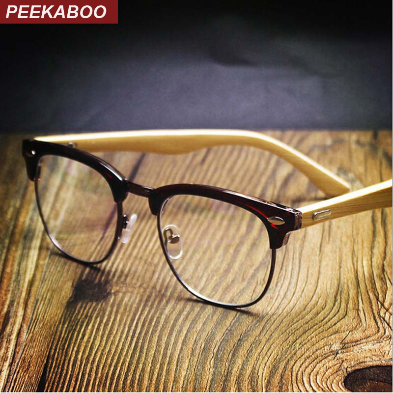 Peekaboo NEW rivets square bamboo glasses frames men clear lens semi rimless eyeglass frames computer bamboo women UV matte
