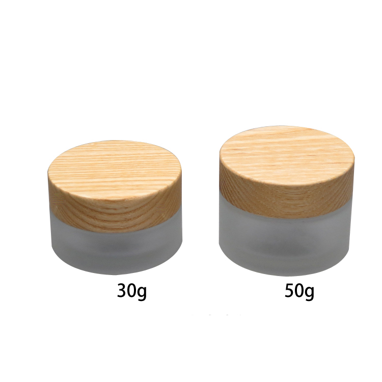 30g 50g Empty Frosted Glass Eye/Face/Mask Cream Jar with Bamboo Wooden Screw Cap Cosmetic Refillable Bottle Container Wholesale high quality pearl white acrylic cream jar gold cap empty cosmetic container jar lotion pump bottle 30g 50g 30ml 50ml 120ml