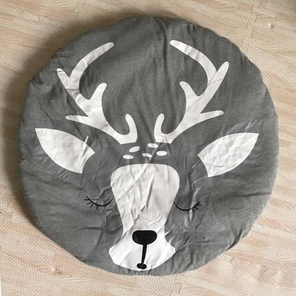 Рождественский ковер с оленем детское одеяло игровые коврики круглый мультфильм одеяло для ползания ковер хлопок детская игрушка ползающий коврик для помещений