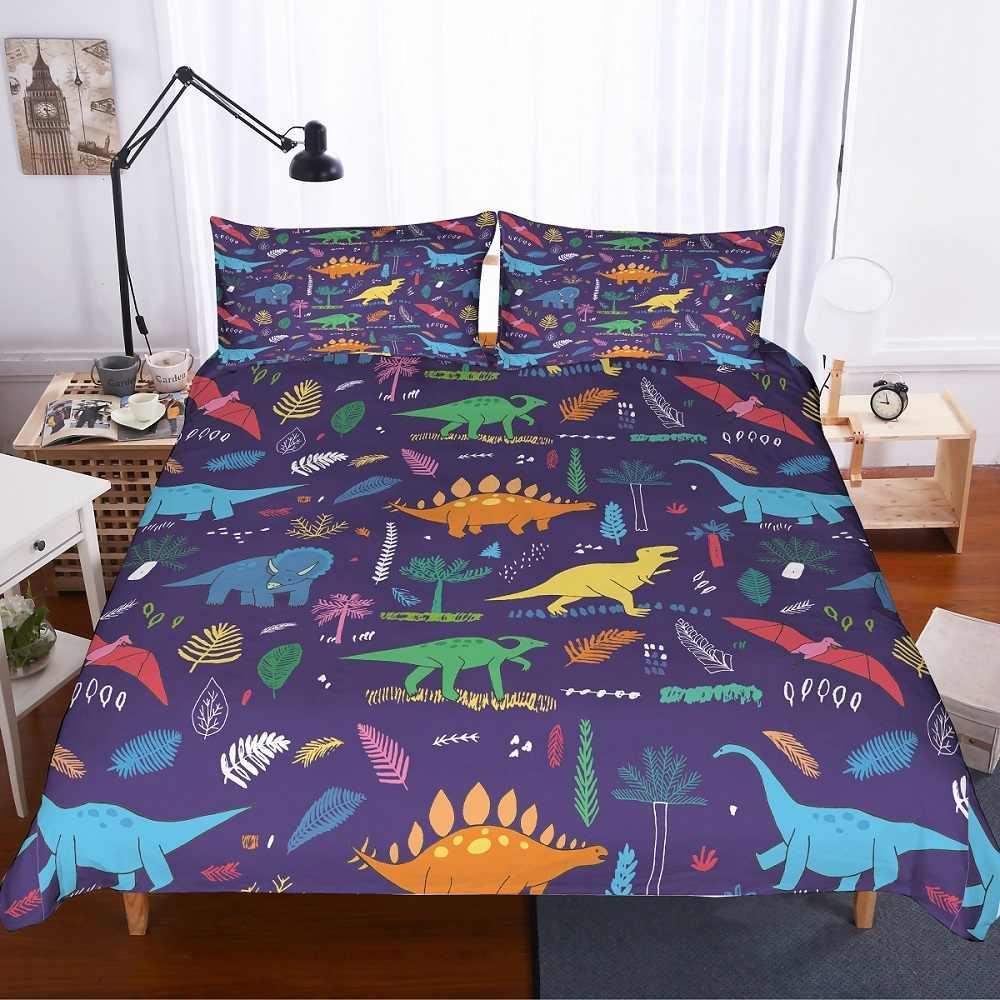2/3Pcs Boys Dino Bedding with Pillowcase Blue Green Yellow Orange Red Dinosaurs Bedspread Print Purple Double Duvet Cover Set