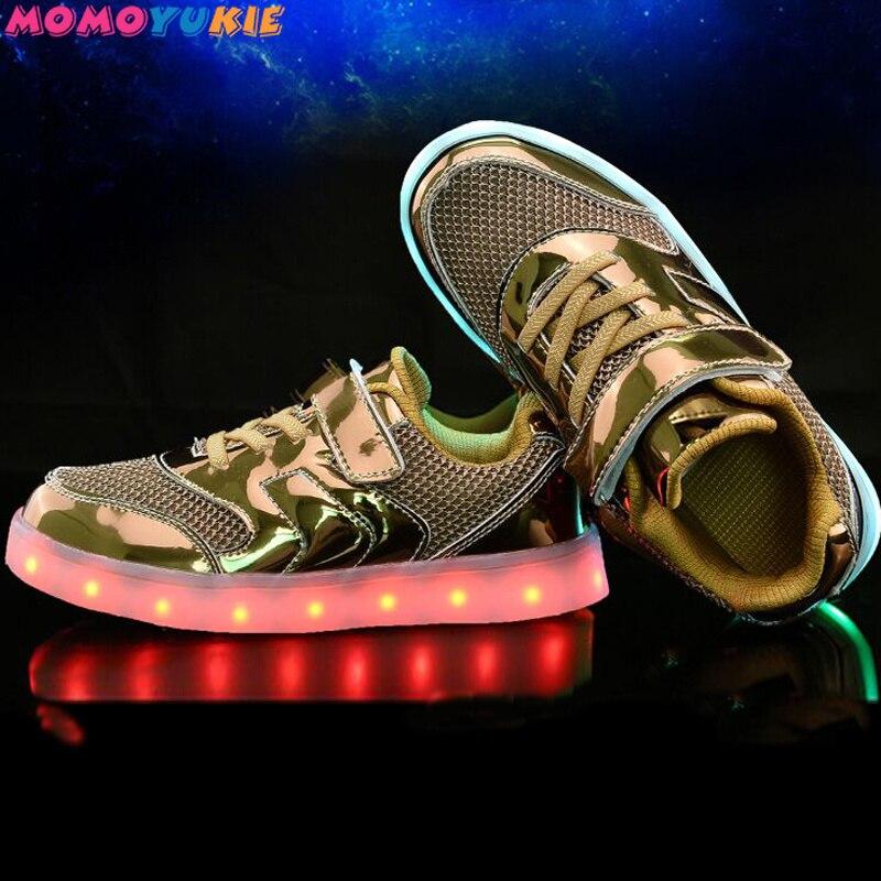Led enfants chaussures 2019 USB chargement panier chaussures avec lumière enfants décontracté pour garçons filles lumineux baskets or argent rose