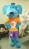 Ohlees фактические реальное изображение голубой собаки с шляпа Маскоты костюм для взрослых Размеры наряд плюшевые куклы нарядное платье
