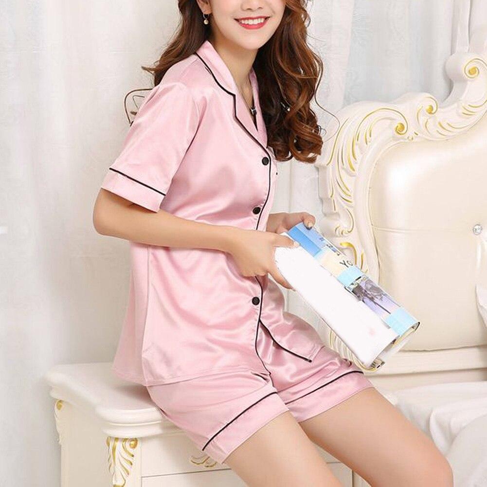2019 Womens Silk Satin   Pajamas   Pyjamas   Set   short Sleeve Sleepwear summer   Pajamas   Suit Female Sleep Two Piece   Set   Loungewear