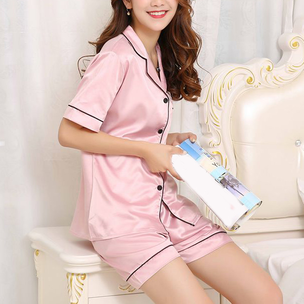 Womens Silk Satin Pajamas Turn-down Collar Pyjamas Short Sleeve Set Sleepwear Female Summer Pajamas 2Piece Set Loungewear Suit