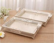 European fashionable rectangular hollow metal tray diamonds decorative silver storage tray metal severing tray FT042
