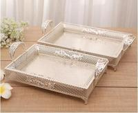 fashionable rectangular hollow silver metal tray diamonds decorative silver storage tray metal severing tray FT042A