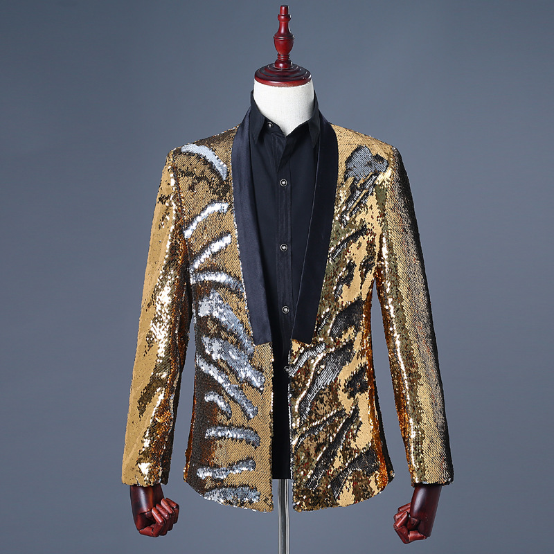 <font><b>Men's</b></font> Two - Color Stage Suit <font><b>Jackets</b></font> <font><b>Sequin</b></font> Blazer Polyester None Button Yellow Blue <font><b>Green</b></font> Black Casual <font><b>Sequin</b></font> Suit image