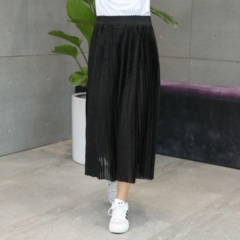 fc5d17a03df2 Vagary Plus Size Pleated Skirt Women Metal Plain Brief Elastic Waist Beach  Midi Skirts New Fashion Summer Ladies Casual Skirt-in Skirts from Women's  ...