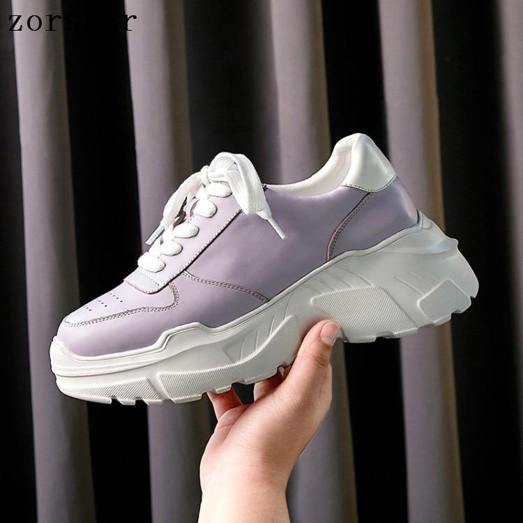 Femmes Sport En Automne light Purple Chaussures Cuir Printemps Lacets forme Creepers 2019 Femme Véritable Plates Baskets Noir Nouveau Appartements Décontractées Plate À tpzawqn