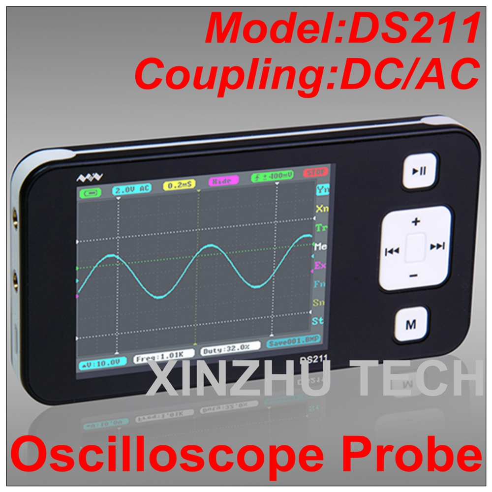 DSO Mini DS211 Lightweight Digital Storage Oscilloscope Probe 1 MSa/s DC/AC Large Display Screen dso150 avr core portable 2 1 glcd digital storage oscilloscope green black silver