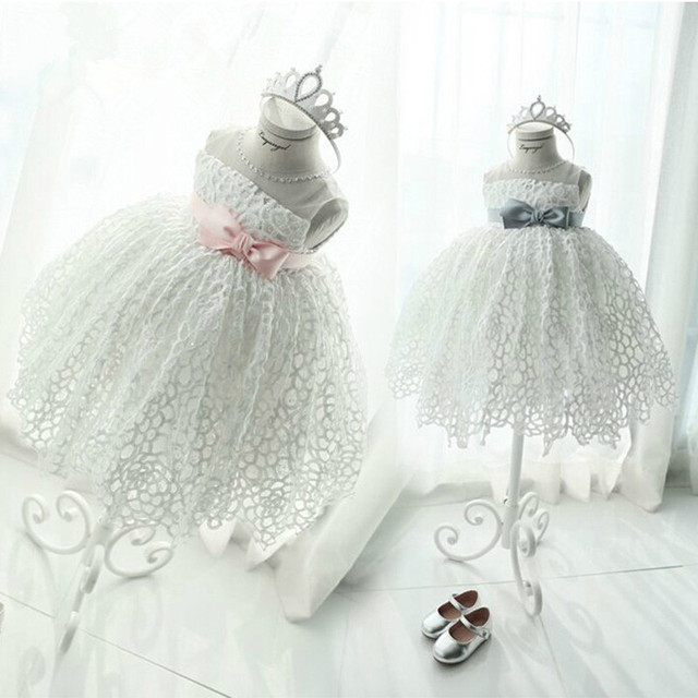 2016 Lace Bow Flower Girl Dresses Scoop Sashes Knee-Length Ball Gown Girls Pageant Dresses First Communion Dresses For Girls