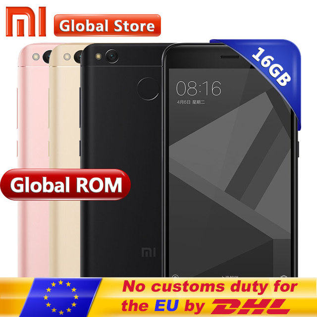 "Original Xiaomi Redmi 4X 2GB 16GB Mobile Phone Redmi 4 X Global Rom Snapdragon 435 Octa Core 5.0"" HD Fingerprint 4100mAh"