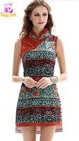 Chest 83 91cm Summer 2017 Floral Print Mini Short Vintage Dress Women Sleeveless Bandage Mandarin Collar