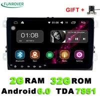 9 pollice Android 6.0 Lettore DVD Dell'automobile 2din Gps Radio Stereo Multimedia PC 2G + 32G in dash per vw Skoda tiguan passat cc golf touran