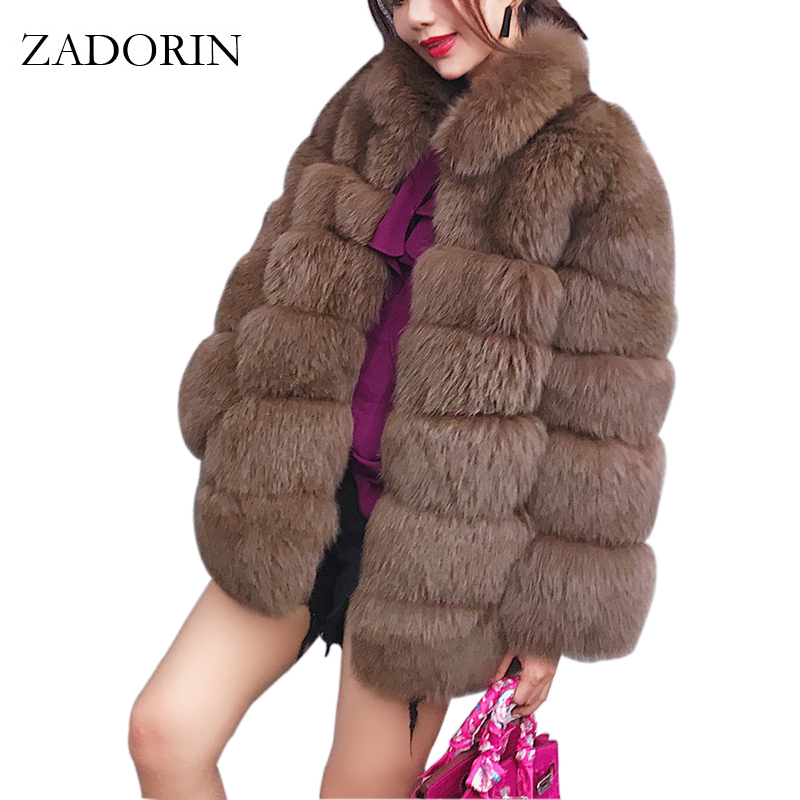 ZADORIN 2019 Plus Size Winter Outerwear Furry Faux Fur Coat Women High Collar Long Sleeve Fake Fur Jacket Fourrure Abrigos Mujer
