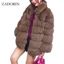 ZADORIN 2020 בתוספת גודל חורף הלבשה עליונה פרווה פו פרווה מעיל נשים גבוהה צווארון ארוך שרוול מזויף פרווה מעיל fourrure abrigos mujer