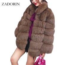 Zadorin 2020 プラスサイズ冬上着毛皮フェイクファーのコートの女性高襟長袖フェイクファージャケットをfourrure abrigosのmujer