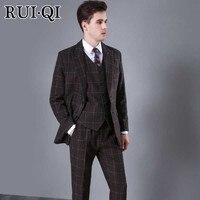 Руи Ци новые шерстяные Для мужчин костюмы из трех частей Бизнес элегантный костюм куртка + брюки + жилет коричневый Британский клетчатый Бле