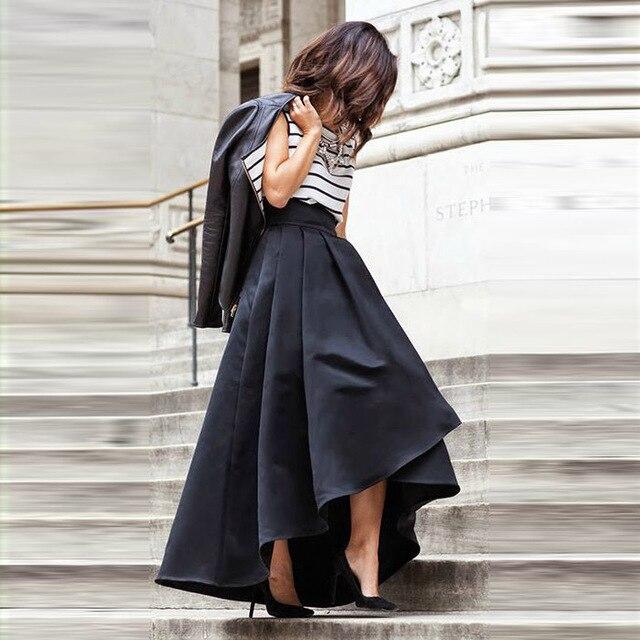 Aliexpress.com : Buy Chic High Low Women Skirt Pleat High Zipper ...