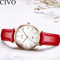CIVO 2019 Fashion Red Watch Women Famous Top Brand Ladies Dress Watches Waterproof Genuine Leather Wristwatches Analogue Clock