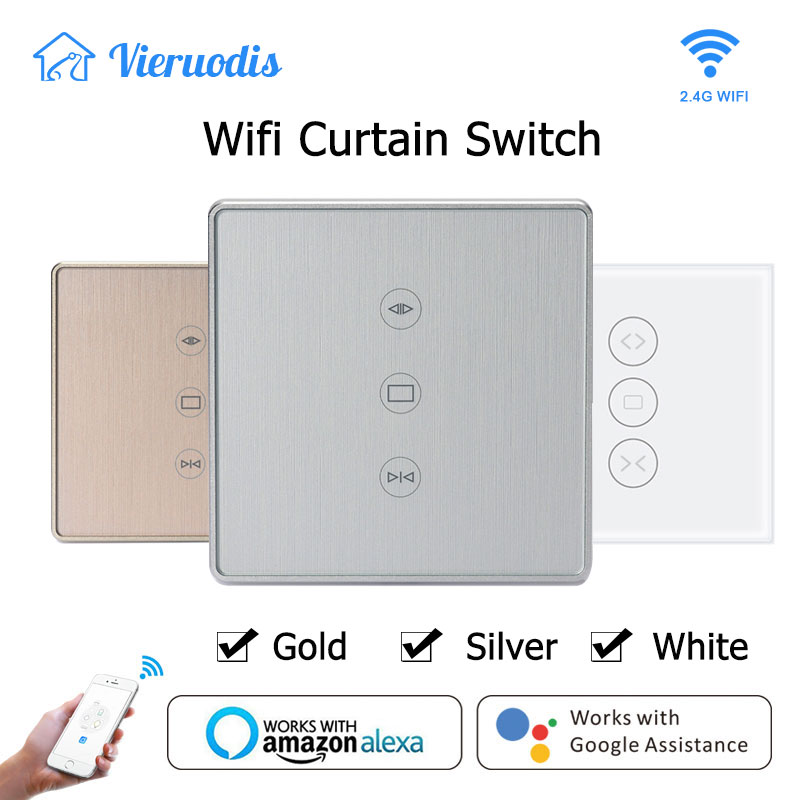 Gold Silver Tuya Smart Life WiFi Curtain Switch for Electric Motorized Curtain Blind Roller Shutter works with Alexa amp Google home