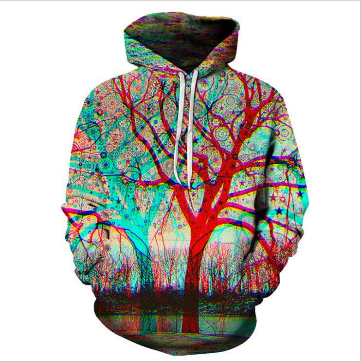 2019 new men's hoodie sweatshirt, colorful spray-painted tree hoodie Hip Hop streetwear Asian size Plus 4XL