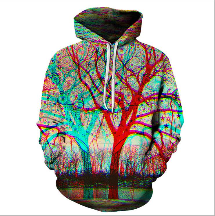 2019 New Men's Hoodie Sweatshirt, Colorful Spray-painted Tree Hoodie Hip Hop Streetwear Asian Size Plus 4XL