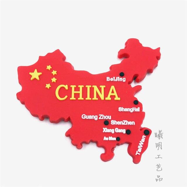 China Flag Map Fridge Magnet Landmark Beijing Shanghai Guangzhou