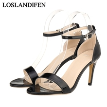 Thin High Heels 2018 New Arrive Women Sandals Heeled Open Toe Summer Shoes Woman Sandalias Mujer Patent Leather Shoes NLK-A0118