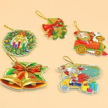 160pcs/lot Christmas Tree Decoration Pendant Santa Claus Small Hanging Card Christmas Decorations Christmas Wish Card недорого
