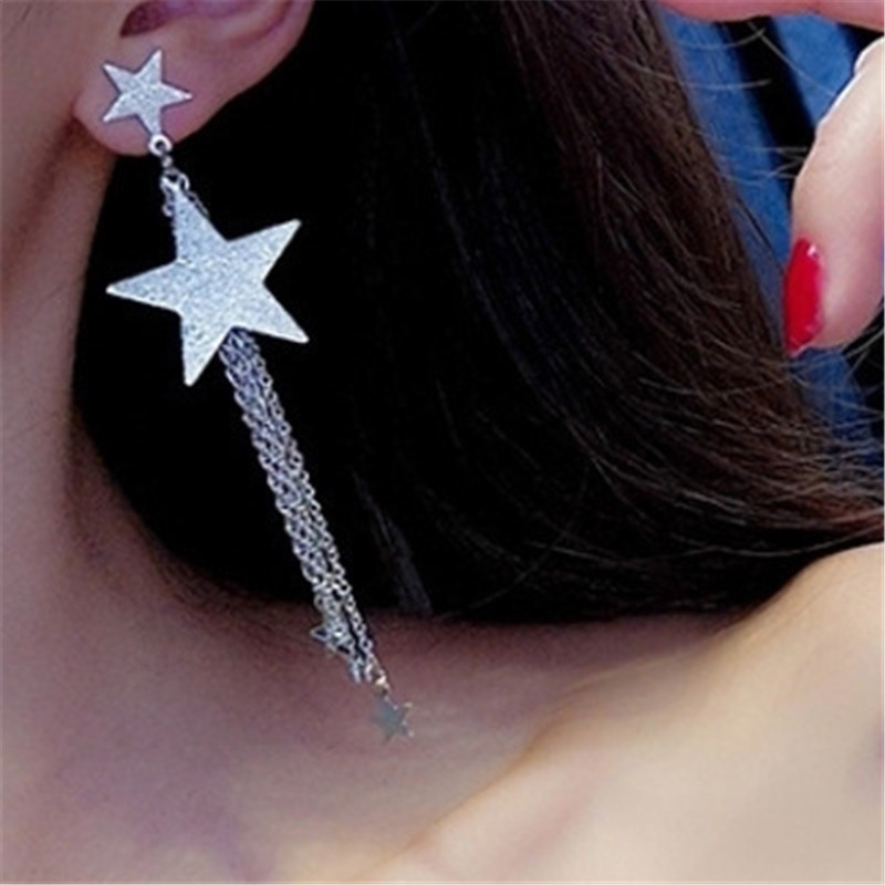 M MISM Shining Star Tassel Earrings Long Chains Pendientes Flecos Golden Silver Color Oorbellen Bling Vintage Boucle D'oreille