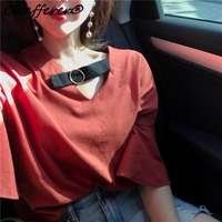 Harajuku Style New Summer Ladies T Shirt Fashion Solid Color V Neck Half Flare Sleeve Tee