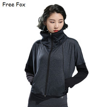 Sport Jacket for Women with Pocket Stand Collar Long Sleeve Jacket Coat Outwear Yoga Top Running Jacket(China)