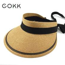 COKK Summer Hats For Women Sun Visor Straw Hat With Ribbon Bow Foldable Beach Hat Female Chapeau Femme Sunshade Outdoor Travel(China)