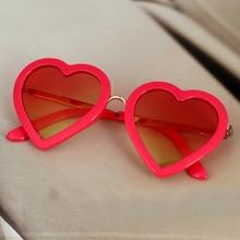 Модные детские солнцезащитные очки в форме сердца для мальчиков и девочек детские украшения для очков прекрасные Солнцезащитные очки в металлической оправе UV400 13-29YB