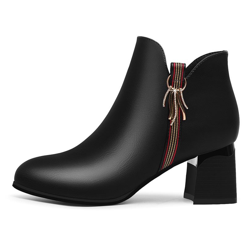 Good quality waterproof platform autumn and winter new solid color pointed boots high heel ankle boots women two colors