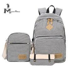 Мода Холст Рюкзак и личности трех частей Многофункциональный школьная сумка