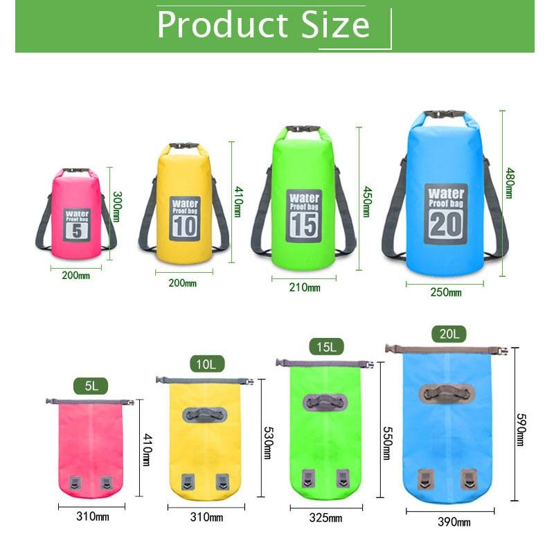 Waterproof Swimming Backpack Bag 5L 10L 15L 20L Portable Ultralight Waterproof Floating Bag Outdoor Camping Storage Dry Sack Bag 3