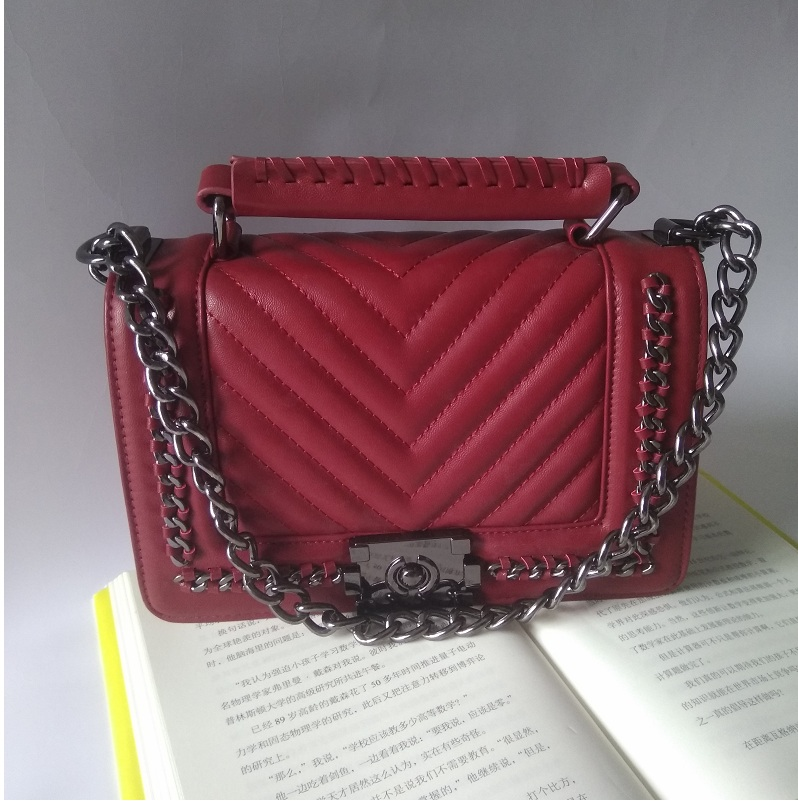 Caker Women Diamond Lattice Bag Real Genuine Leather Handbags Black Red V embroidery Chain Shoulder Crossbody Bag Messenger Bags women shoulder bag cossbody handbag genuine first layer of cow leather 2017 korean diamond lattice chain women messenger bag