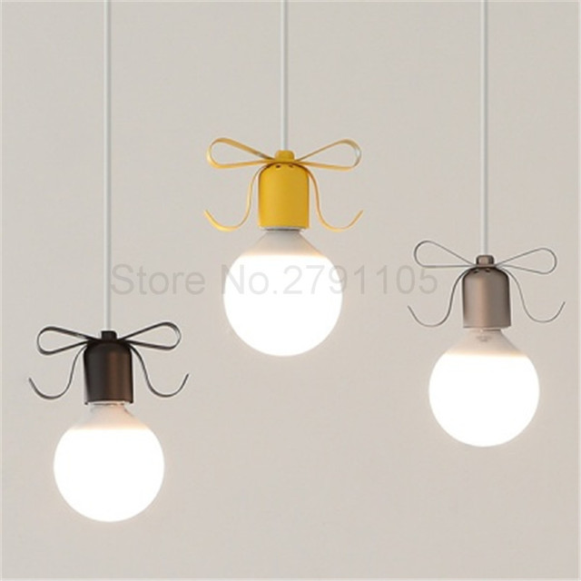 Modern Pendant Lamp Countryside Creative Bedroom Restaurant Romantic Bowknot Hanging Lamp Simple Coffee Bar LED Pendant Light