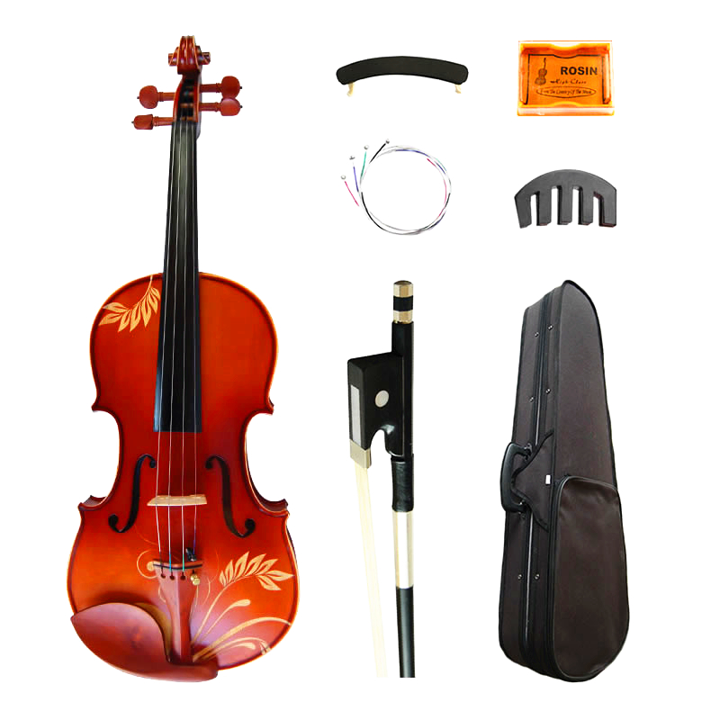 Flower Carved Maple Acoustic Art Violin 4/4 Matt Violino Fiddle High grade Ebony Parts with Shoulder Rest Case Bow Rosin