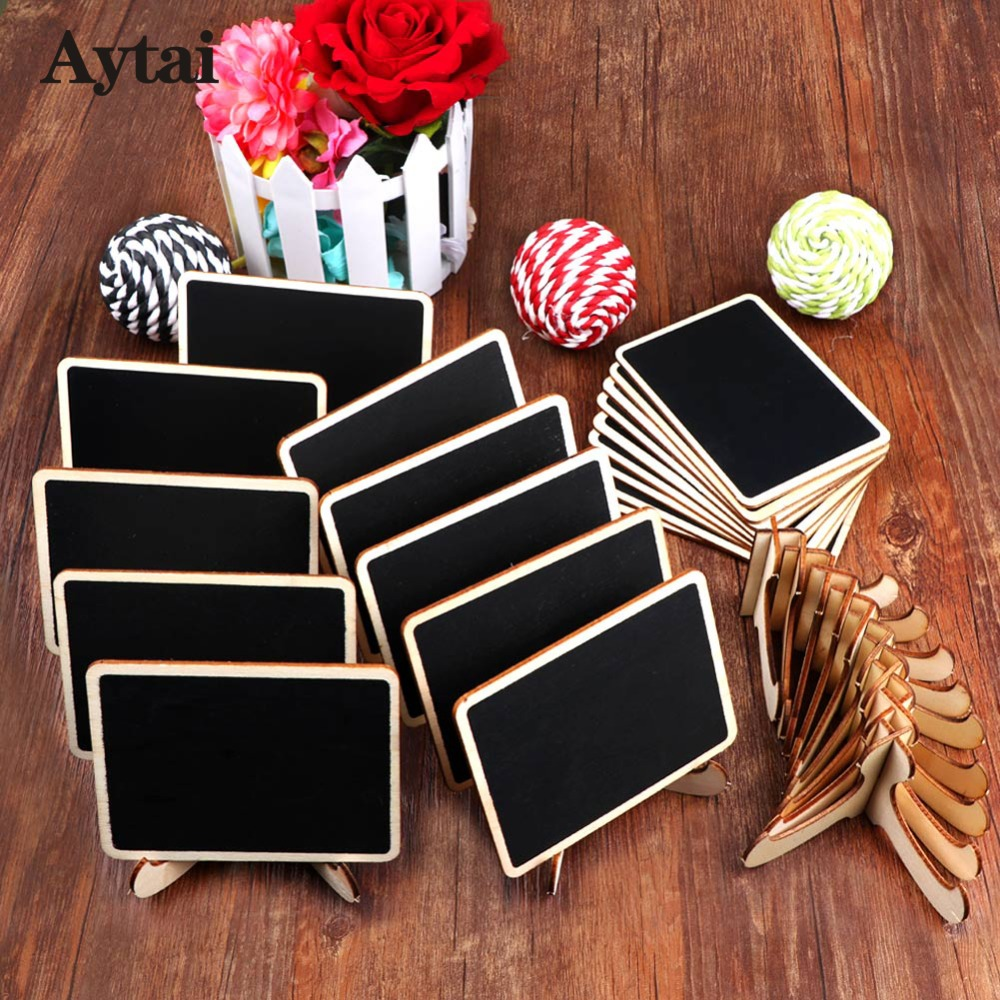 Aytai 10pcs Table Numbers Wedding Place Cards Mini Chalkboard Sign with Stand Wedding Blackboard Chalkboard Number Sign