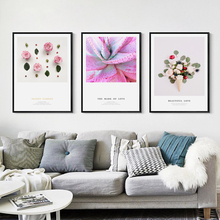 Elegant Poetry Modern Pink Fresh Sweet Love Flowers Canvas Painting Art Print Poster Picture Wall Home Decoration