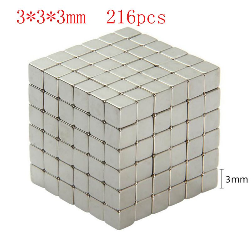 216Pcs 3x3x3mm Neodymium Magnet Cube 3mm N35 Permanent NdFeB Super Strong Powerful Magnetic Magnets Square Buck Cube