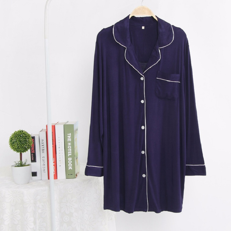 long sleeve knitted cotton   nightgowns   women bathrobe spring nightdress solid color cotton   sleepshirts